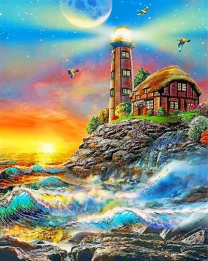 Aesthetic Lighthouse paint by numbers