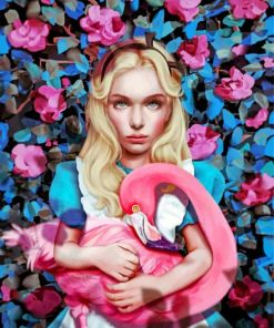 alice-in-wonderland-and-flamingo-paint-by-number