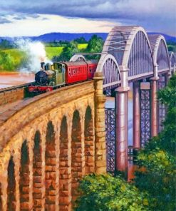 arch-bridge-railway-train-paint-by-numbers