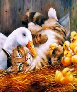 cat-and-duck-family-paint-by-number