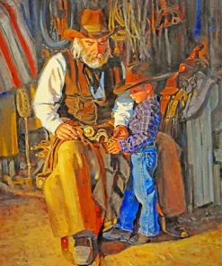 cowboy-and-his-grandfather-paint-by-number