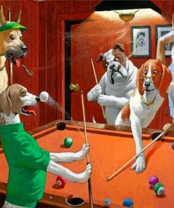 Dogs Playing Pool Paint by numbers