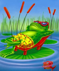 Frog On Lily Pad paint by numbers