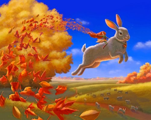 giant rabbit fantasy art paint by number