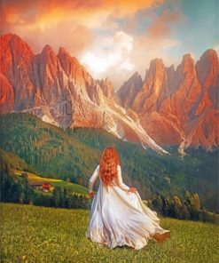 Girl Running In The Mountains Paint by numbers