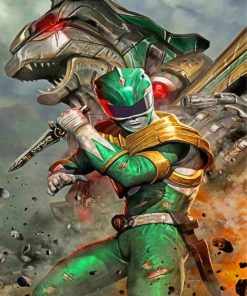 green-power-rangers-illustration-paint-by-number