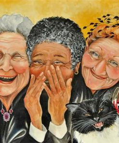 old women laughing paint by number