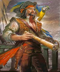 Pirate With Parrot Paint by numbers