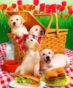 Puppies Picnic paint by numbers