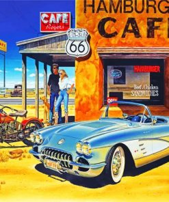 Route 66 Vintage Travel Paint by numbers