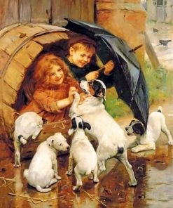 siblings-playing-with-dogs-arthur-j-elsley-paint-by-numbers