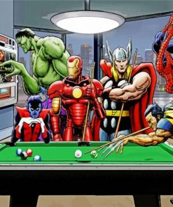 Superheroes Playing Pool Paint by numbers