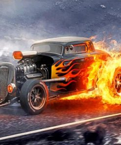 Vintage Fire Car paint by numbers