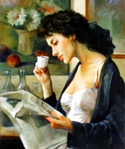 Woman Drinking Coffee paint by numbers