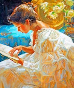 Woman Reading A Book paint by numbers