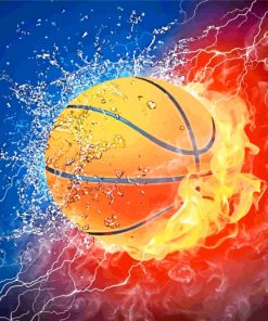 Basket Ball On Fire Paint by numbers
