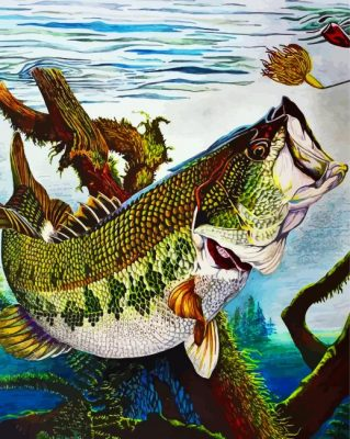 Bass Fish Underwater Paint by numbers