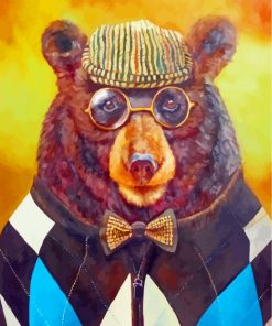 Bear With Glasses Paint by numbers