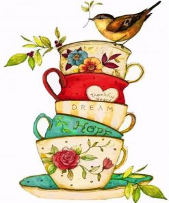 Bird On Teacups paint by numbers