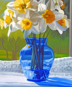 Blue Glass Vase With Flowers Paint by numbers