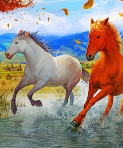 Brown And White Horses Paint by numbers