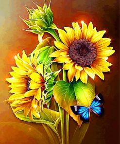 Butterfly On Sunflowers Paint by numbers