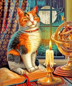 Cat And Candle Paint by numbers