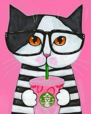 Cat Drinking Coffee Paint by numbers