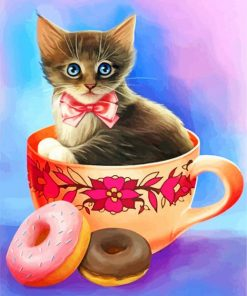 Cat In Coffee Cup Paint by numbers