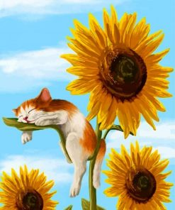 Cat on Sunflower paint by number