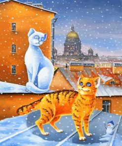Cats In Snow Paint by numbers