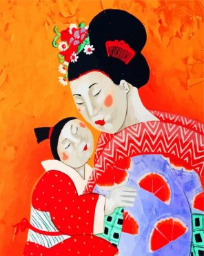Chinese Woman And Kid Paint by numbers