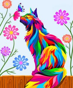 Colorful Cat Art Paint by numbers