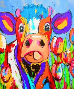 Colorful Cow Art Paint by numbers