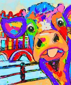 Colorful Cow In Amsterdam Paint by numbers