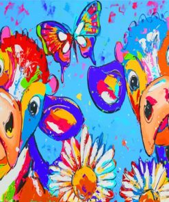 Colorful Cows And Butterfly Paint by numbers