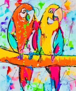 Colorful Parrots Art Paint by numbers