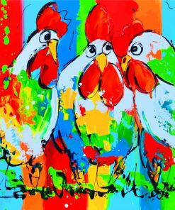 Colorful-Roosters Paint by numbers