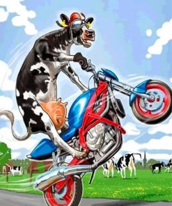 Cow On Motorcycle Paint by numbers