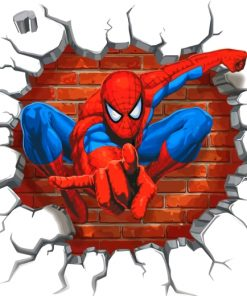 Cracked Wall Spider Man Paint by numbers