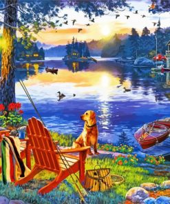Dog By Lake Paint by numbers