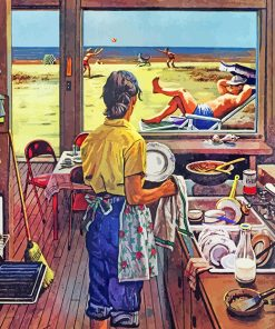 Doing Dishes At Beach Paint by numbers