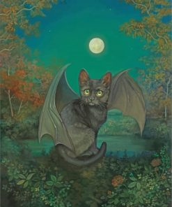 Fantasy Bat Cat Paint by numbers