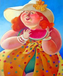 Fat Woman Eating Watermelon Paint by numbers