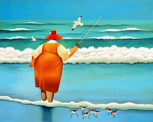 Fat Woman Fishing Paint by numbers