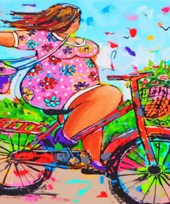 Fat Woman On Bicycle Paint by numbers