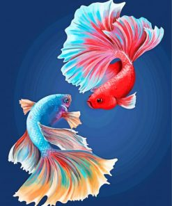 Fighter Fish Paint by numbers