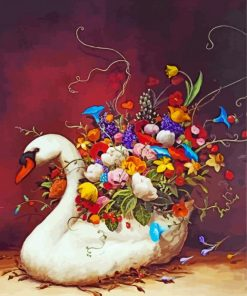 Floral Swan Bird Paint by numbers