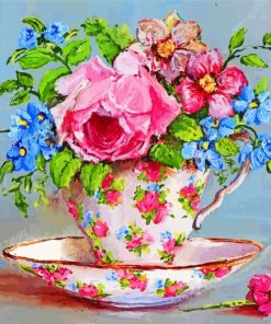Floral Tea Cup Paint by numbers