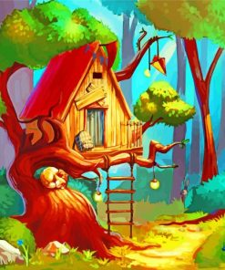 Forest Tree House Paint by numbers